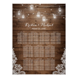 Rustic Country String Lights Wedding Seating Chart
