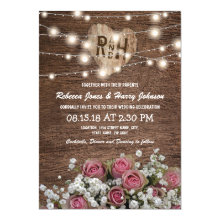 Rustic Country String of Lights Wedding Invitations