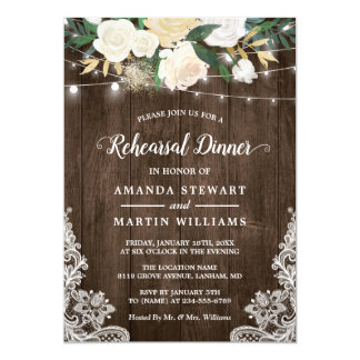 Rustic Country Style Ivory Floral Rehearsal Dinner Invitation