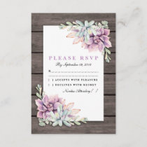 Rustic Country Succulent Floral Wedding RSVP