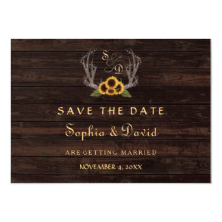 Rustic Country Sun Flowers Antlers Save the Date Card