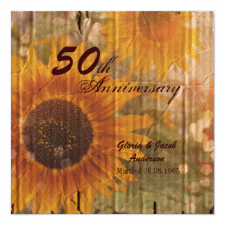 rustic country sunflower 50th wedding anniversary card