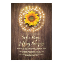 rustic country sunflower barn wedding invitations