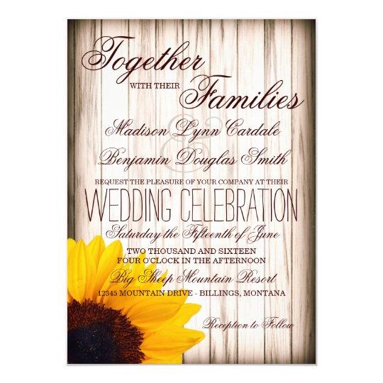 Country Rustic Barn Weddings: Rustic Country Sunflower Barn Wood Wedding Invites