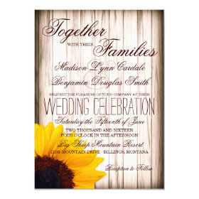 Rustic Country Sunflower Barn Wood Wedding Invites 4.5
