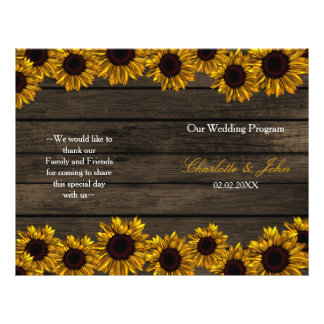 Rustic Country Sunflower Barn Wood Wedding program