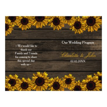 Rustic Country Sunflower Barn Wood Wedding program
