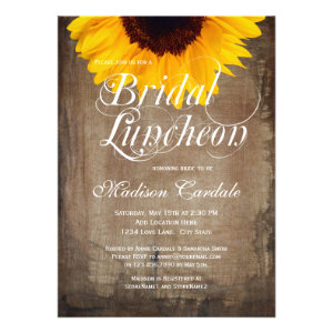 Rustic Country Sunflower Bridal Luncheon Invite 2