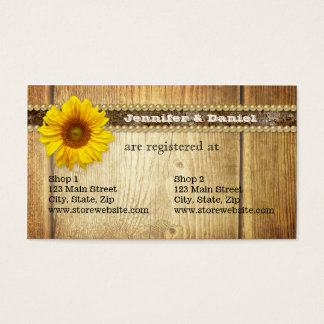 Rustic Country Sunflower Bridal Registry Card