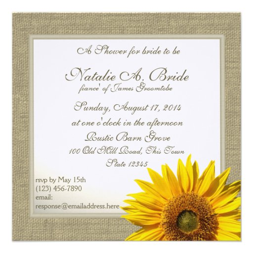 Rustic Country Sunflower Bridal Shower Personalized Invites
