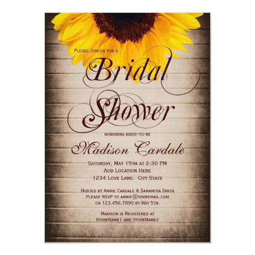 Rustic Country Sunflower Bridal Shower Invitations | Zazzle