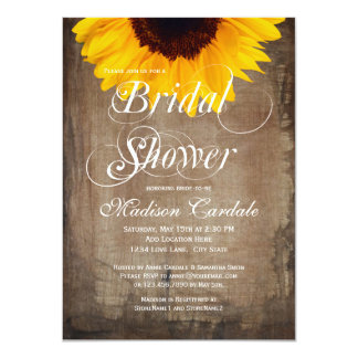 Rustic Country Sunflower Bridal Shower Invitations Personalized Announcements