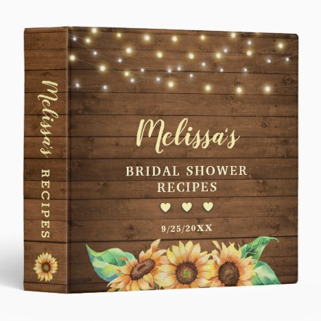 Rustic Country Sunflower Bridal Shower Recipe Book 3 Ring Binder
