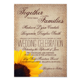 Rustic Country Sunflower Burlap Wedding Invitation