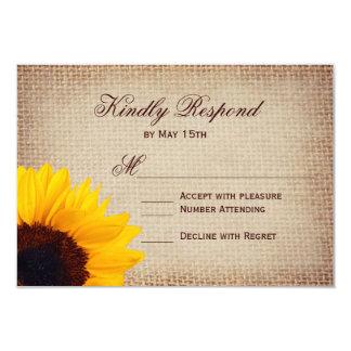 Rustic Country Sunflower Burlap Wedding RSVP Cards