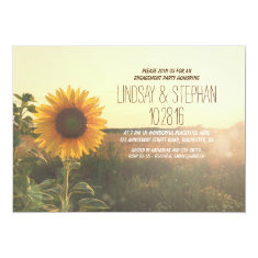 rustic country sunflower engagement party invites