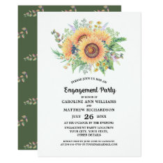 Rustic Country Sunflower Engagement Party Invites at Zazzle