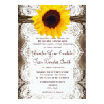 Rustic Country Sunflower Lace Twine Wedding Invite