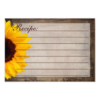 """Rustic Country Sunflower Recipe Cards 3.5"""" X 5"""" Invitation Card"""