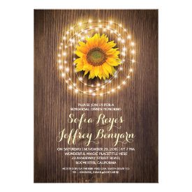 rustic country sunflower rehearsal dinner invites