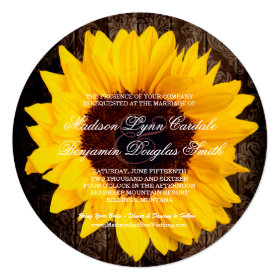 Rustic Country Sunflower Round Wedding Invitations