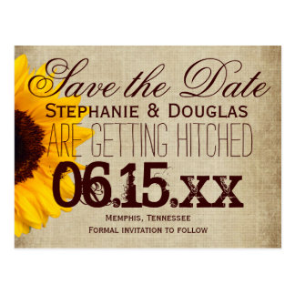 Rustic Country Sunflower Save the Date Postcards