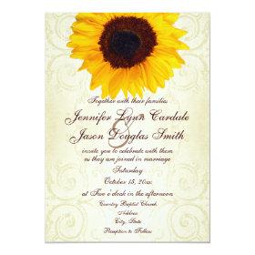 Rustic Country Sunflower Swirls Wedding Invitation 5