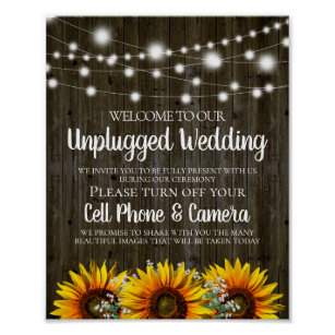 Rustic Country Sunflower Unplugged Wedding Sign