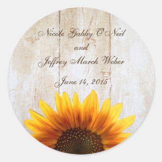 Rustic Country Sunflower Wedding Classic Round Sticker