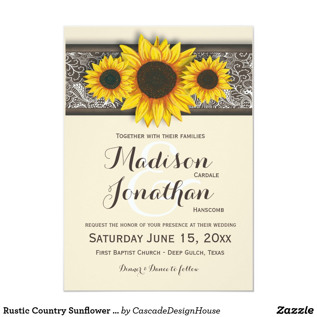 Sunflower Wedding Invitations Rustic Country Wedding Invitations