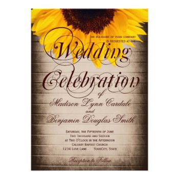 Rustic Country Sunflower Wedding Invitations Personalized Invitation