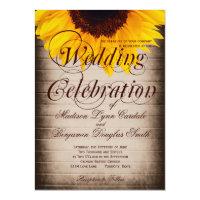 Rustic Country Sunflower Wedding Invitations Personalized Invitation (<em>$2.38</em>)
