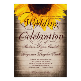 Rustic Country Sunflower Wedding Invitations 4.5