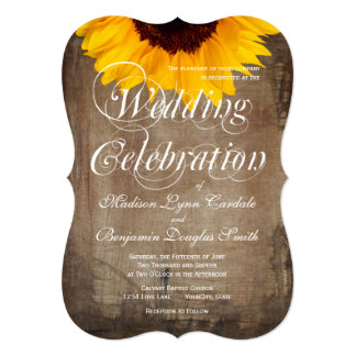 "Rustic Country Sunflower Wedding Invitations 5"" X 7"" Invitation Card"