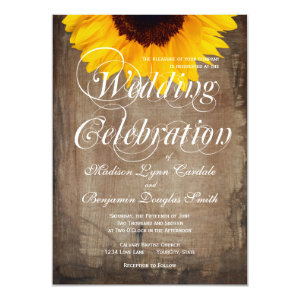 Rustic Country Sunflower Wedding Invitations Custom Announcements