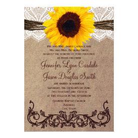 Rustic Country Sunflower Wedding Invitations