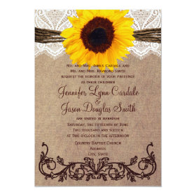 Rustic Country Sunflower Wedding Invitations 5