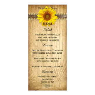 Rustic Country Sunflower Wedding Menu Card