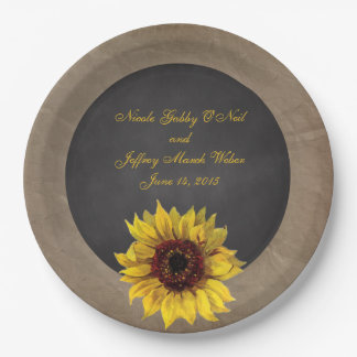 Rustic Country Sunflower Wedding Paper Plate