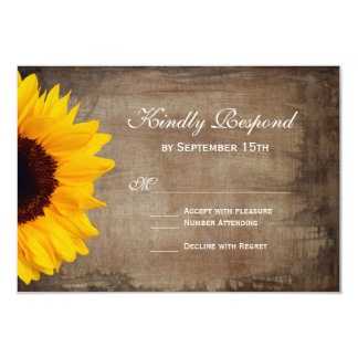 """Rustic Country Sunflower Wedding RSVP Cards 3.5"""" X 5"""" Invitation Card"""