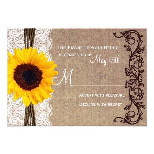 rustic country sunflower wedding rsvp reply cards 3 5 u0026quot  x 5 u0026quot  invitation card