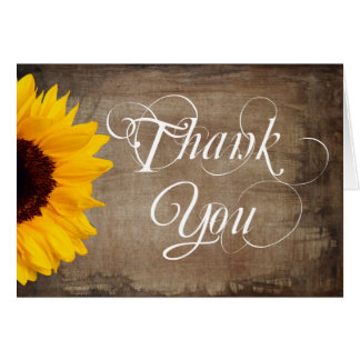 Rustic Country Sunflower Wedding Thank You Cards