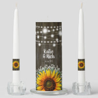 Rustic Country Sunflower Wedding Unity Candle Set