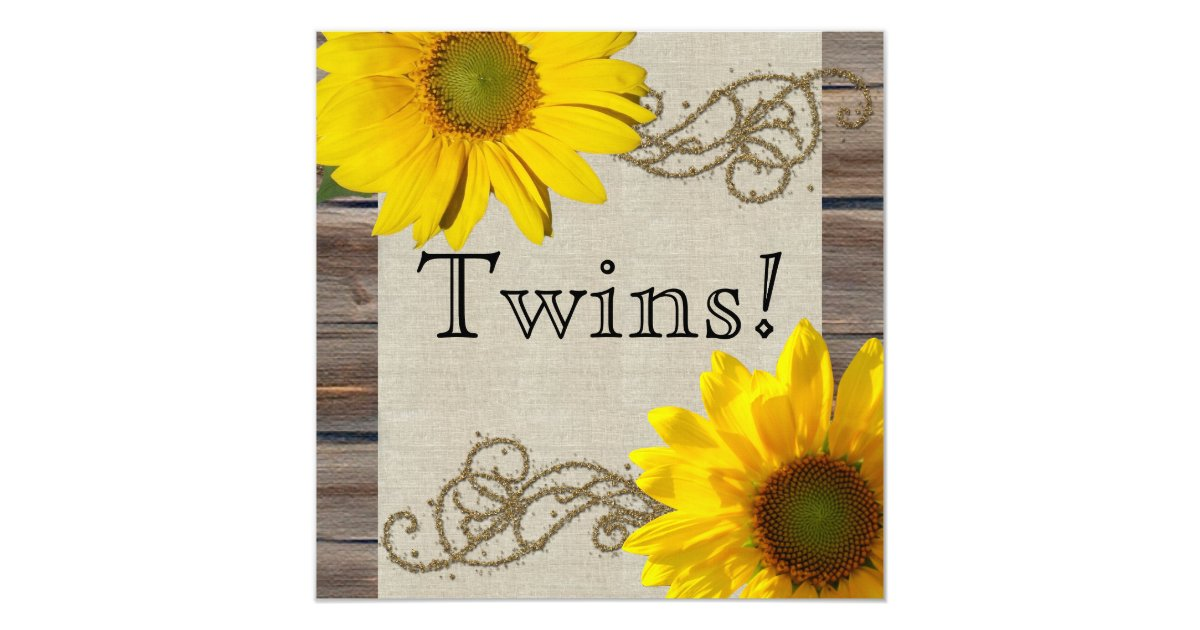 rustic country sunflower wood twin baby shower invitation zazzle