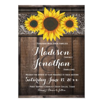 Rustic country wedding invitations rustic wedding invitation sets rustic country sunflower wood wedding invitations solutioingenieria Choice Image