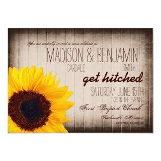 "Rustic Country Sunflower Wood Wedding Invitations 4.5"" X 6.25"" Invitation Card"