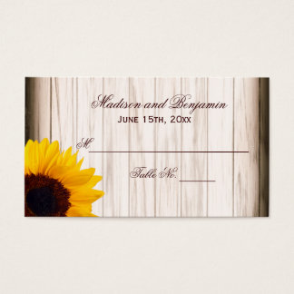 Rustic Country Sunflower Wood Wedding Place Cards