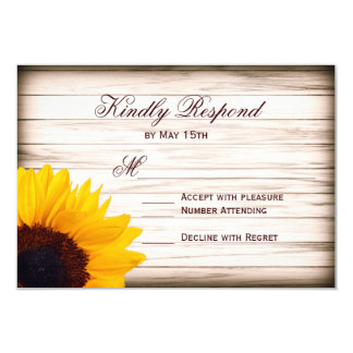 Rustic Country Sunflower Wood Wedding RSVP Cards