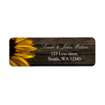 Rustic Country Sunflowers Barn Wood address label