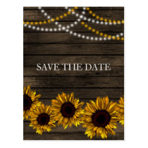 Rustic Country Sunflowers Barn Wood Save the Date Postcard